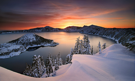 winter time at crater lake. the area can get up to 100 feet of snow