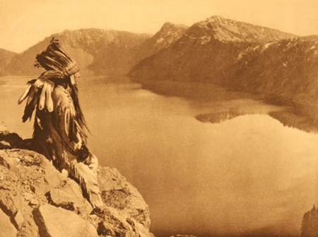old pic of indian at giiwas-crater lake